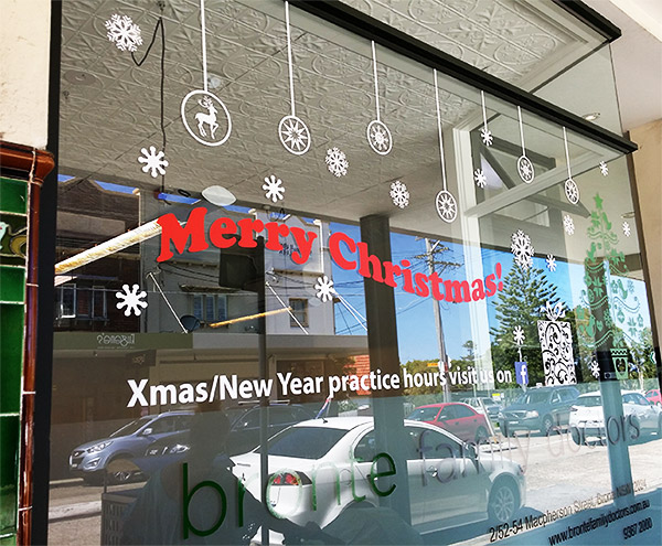 Christmas window decoration decal in sydney
