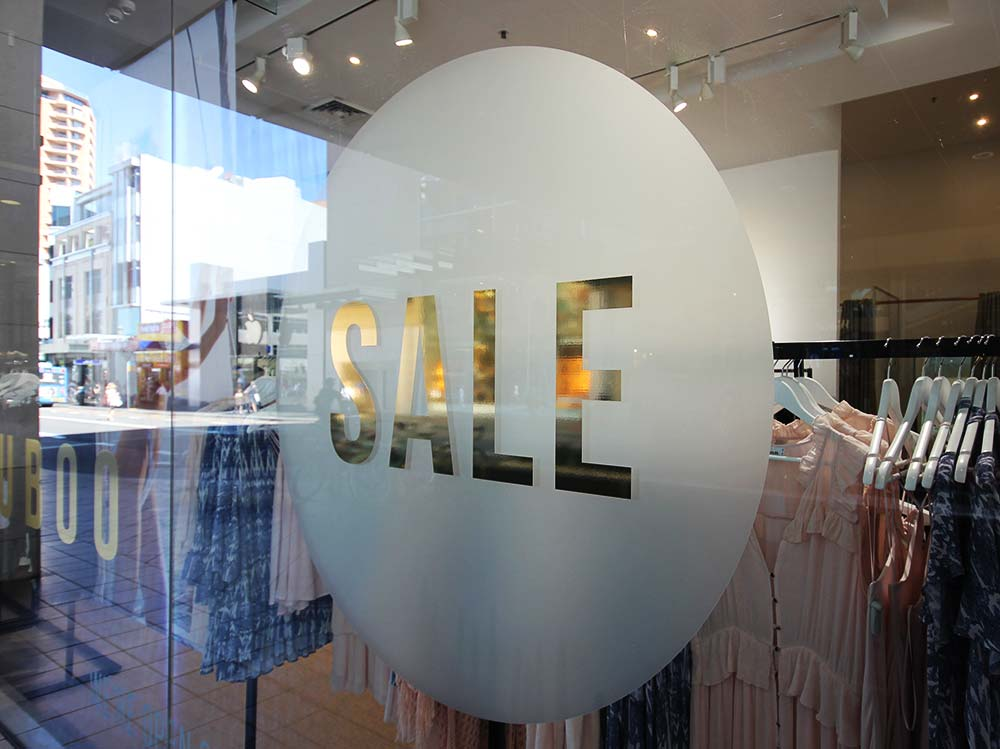 Sale window gold decal signage sydney